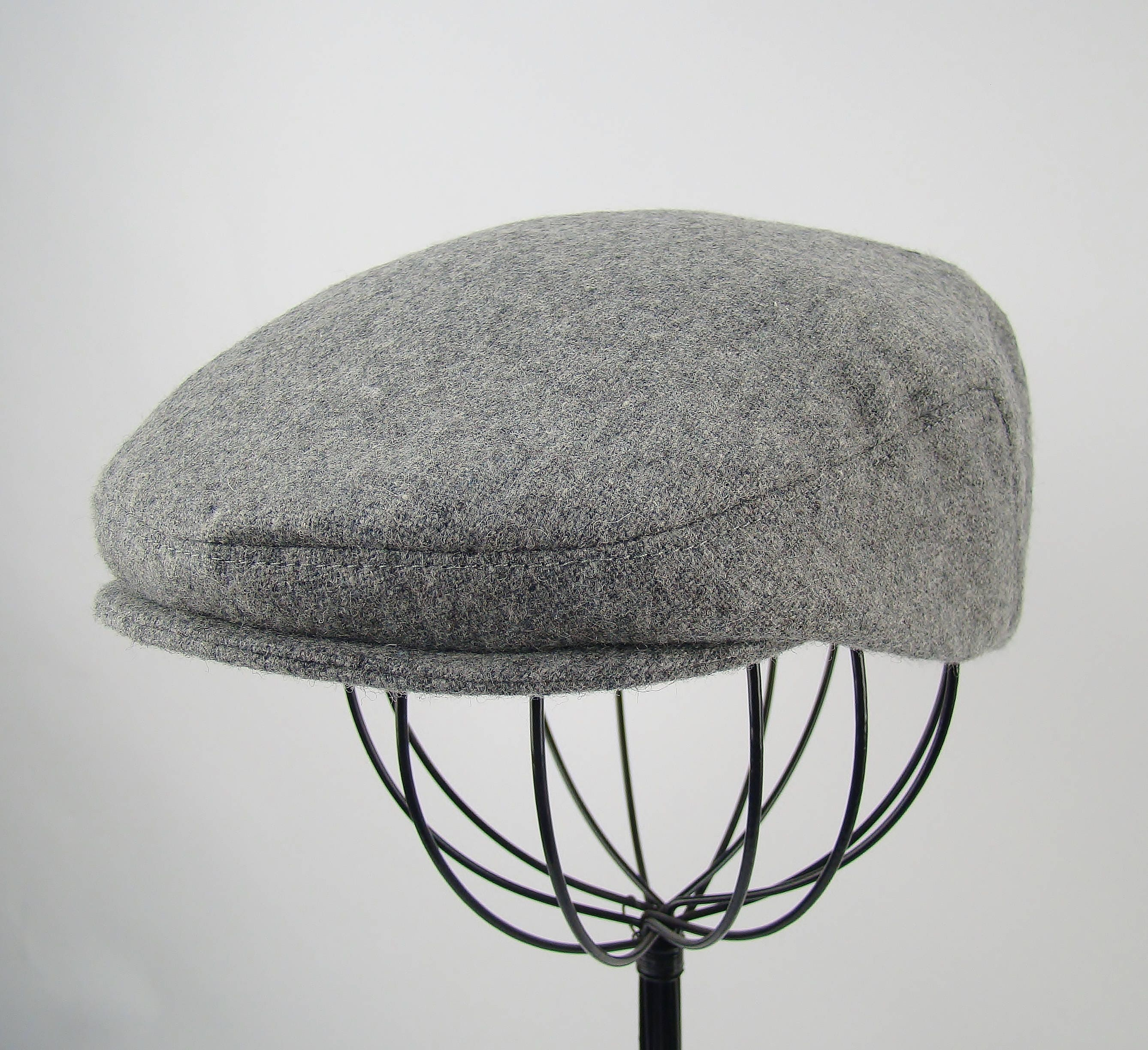 Light Grey Heather Wool Men s Sixpence Hat - Flat Jeff Cap ee6773bd5a7