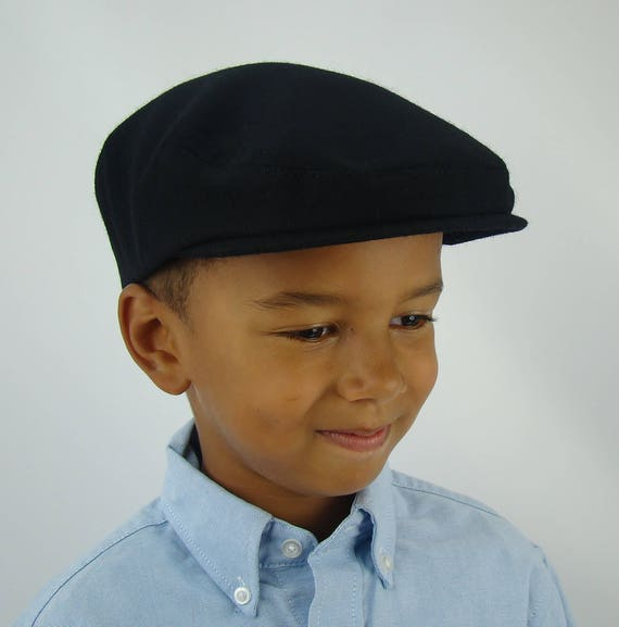 Black Wool Sixpence Ivy Hat -  Flat Jeff Cap, Ivy Cap, Driving Cap for Men, Women, and Children