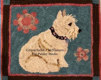 Scottish Terrier Rug Hooking PATTERN on Hand-Drawn on Premium Linen