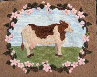 Blossom the Cow rug Hooking PATTERN on linen