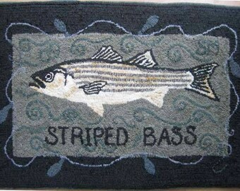 Striped Bass Rug Hooking PATTERN on linen