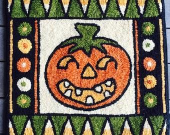 Rug Hooking PATTERN Pumpkin Halloween Hand-Drawn on Linen Goofy Gourd