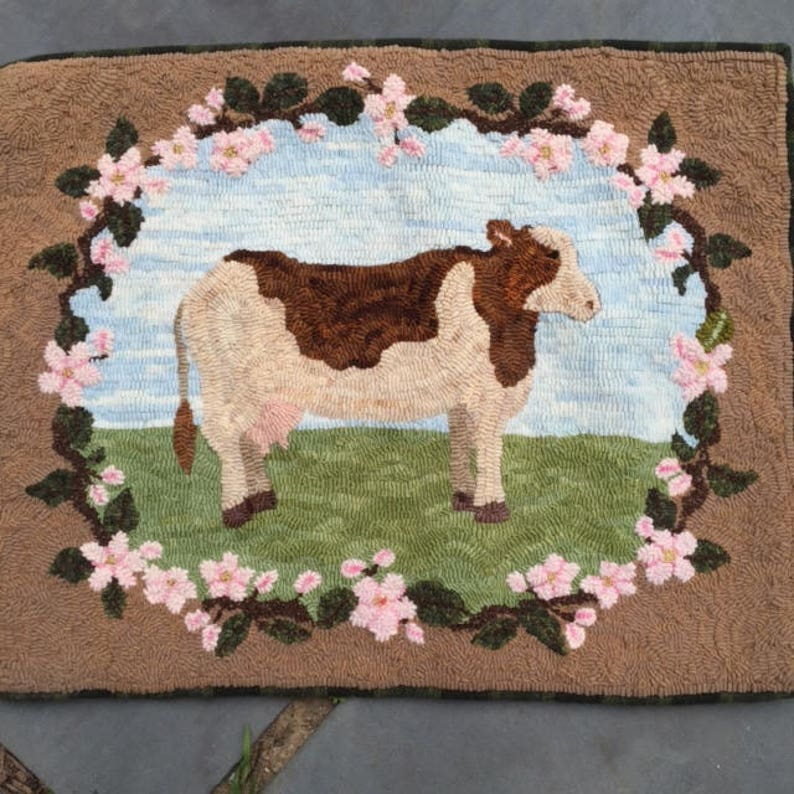 Blossom the Cow rug Hooking PATTERN on linen image 0