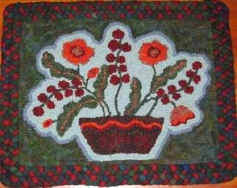 Antique Floral Hooked Rug PATTERN on linen