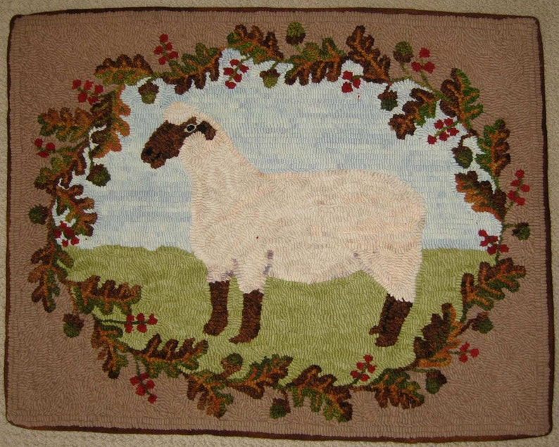 Rug Hooking PATTERN American Oxford Sheep on linen image 0
