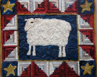 All American Sheep Rug Hooking PATTERN on Linen