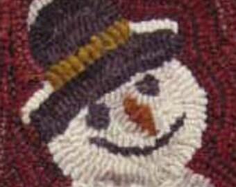 Sweet Snowman Rug Hooking PATTERN Folk Art Needle Craft