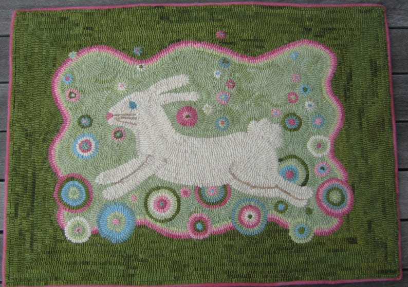 Bubble Bunny Rug Hooking PATTERN on linen image 0