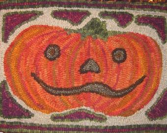 Rug Hooking PATTERN Jolly Jack Pumpkin Halloween Folk Art