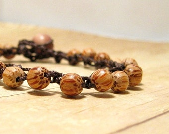 Wood Bead Bracelet,  Wooden Beaded Boho Jewelry, Crochet Bracelet, Brown and Tan Stacking Bracelet