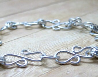 Hand Forged S Link Aluminum Bracelet, Handcrafted Women's Metal Bracelet, Artisan Metalwork Jewelry, Casual Jewelry