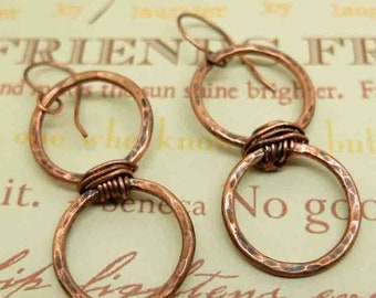 Double Hoop Rustic Copper Earrings, Textured and Oxidized Women's Accessories