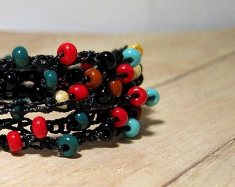 Beaded Wrap Bracelet, Black, Red, Turquoise, Green, Brown, Boho Jewelry, Beaded Wrap Around Bracelet, Southwestern Color Jewelry