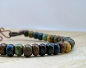 Rustic Bracelet, Earthy Jewelry, Leather Bead Bracelet, Boho Jewelry, Earth Tone Beaded Bracelet, Rustic Jewelry, Earthtone Jewelry