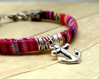 Pink Multi Color Cotton Cord Bracelet, Boho Style Charm Bracelet, Anchor Charm Bracelet, Fiber Jewelry, Hipster Jewelry, Vegan Bracelet