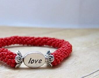 Bead Crochet Bracelet, Red Bangle Bracelet with Love Heart Silver Tone Message Bead, Brick Red Beadwork Bracelet, Love Beaded Bracelet