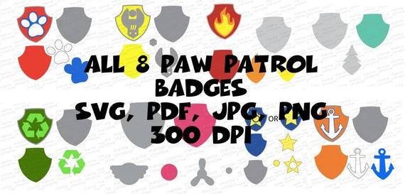 Main 8 Paw Patrol Badges Skye Ryder Everest Chase Marshall Etsy