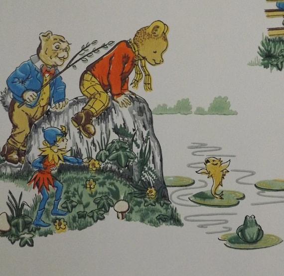 Vintage Rupert The Bear Wallpaper Childrens Animal Dog Badger Etsy