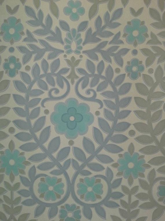 Behang Pastel Groen.Vintage Behang Pastel Blauw Groen Grijs Bloemen Laat Rollen