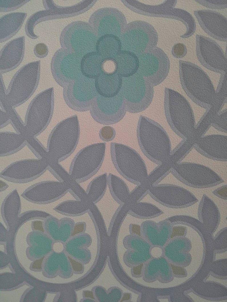 Pastel Groen Behang.Vintage Behang Pastel Blauw Groen Grijs Bloemen Laat Rollen Etsy