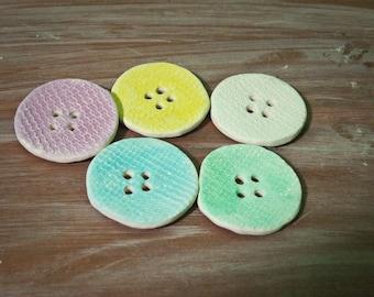 handmade porcelain buttons -- large pastel canvas -- set of 5