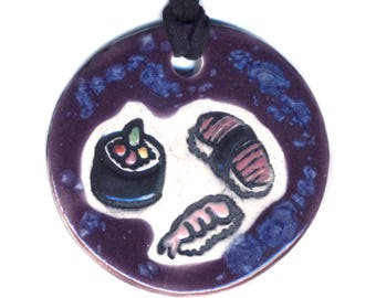 Sushi Ceramic Necklace Medium Size in Speckled Purple