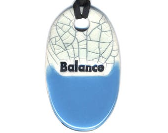 Balance Ceramic Necklace in Blue and Crackle