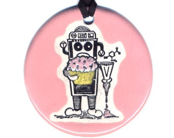 Bakery Bot Ceramic Necklace in Pink