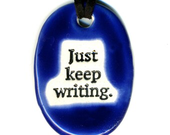 Just Keep Writing Ceramic Necklace in Cobalt Blue