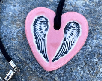 Angel Wings Ceramic Necklace in Pink