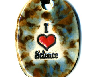 I love Science Ceramic Necklace in Brown and Blue