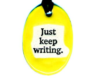 Just Keep Writing Necklace in Yellow