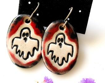 Halloween Ghost Ceramic Earrings in Red