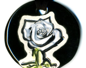 White Rose Ceramic Necklace in Black