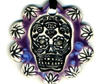 Day of the Dead Skull Flower Ceramic Necklace in Blue and Purple