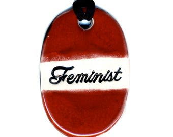 Feminist Ceramic Necklace in Red