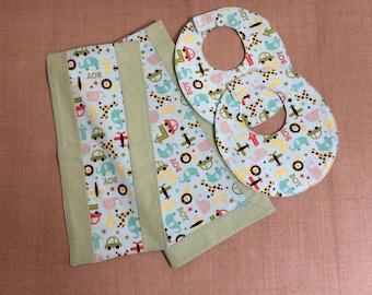 Blanket, Burp Cloth & Bib Set for Baby Boy