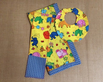 Yellow & Blue Blanket, Burp Cloth and Bib Set with Multi-colored Elephants