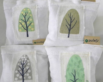 Laundry Pillows filled with Lavender 4 Sachets Healthy Alternative to Chemically Treated Dryer sheet Upcycled Linen Seasons Patched