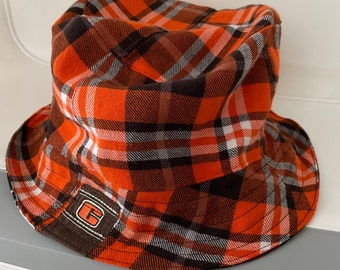 Reversible Bucket Hat Upcycled One of a Kind cleveland browns guardians Indians