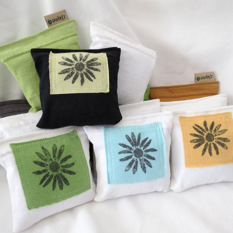 Upcycled Lavender Sachet Dryer Pillows PATCHED Set of Three image 0