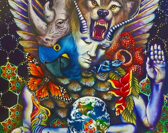"""DEVA Original oil painting 18"""" x 24"""" Endangered species Nature Earth Space Psychedelic Art"""