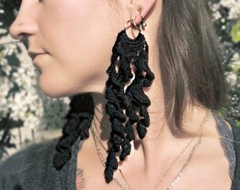 Black Crochet Lace Boho Earrings Solid 14k gold hoops with long beautiful statement jewelry