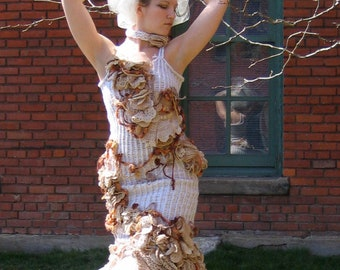 Custom WEDDING DRESS fairy OOAK crochet and tulle couture gown by Krisztina Lazar