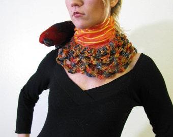 Bullseye Hand Painted Silk Scarf with chunky crochet lace border edges wearable art by Krisztina Lazar