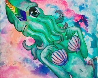 Kawaii Cthulhucorn Original Anima Cthulhu Unicorn Mermaid painting drawing on 12 x 12 canvas