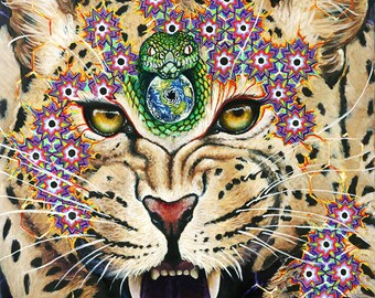 """MOTHER JAGUAR Original oil painting on canvas 16"""" x 20"""" Nature Earth Big Cats Endangered Species Psychedelic Art"""