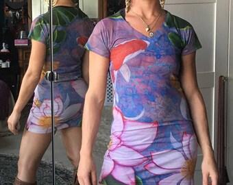 Koi Pond all over print art mini dress or tunic S M or L by Krisztina Lazar