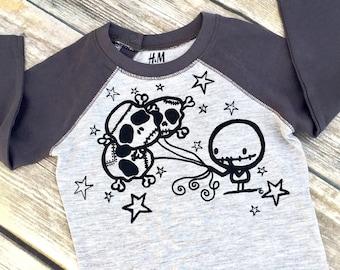 0-18m Zombie & Skull Balloons Contrast Sleeve Top! Cute baby wear by Loverockyx aka Ranocky