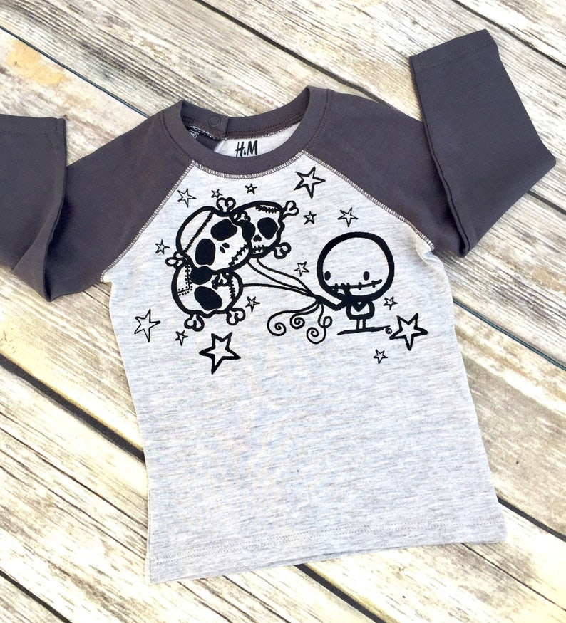 Baby's Zombie & Skull Balloons Contrast Sleeve Top Cute image 0